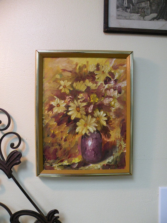 "RESERVED for Courtney / Original 70s Oil Painting 10"" x 13""  Yellow Golden Orange Daisies in Vase OOAK"