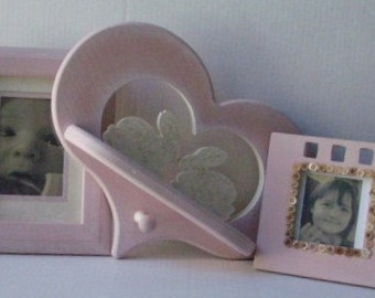 Pink Frame Set with Heart and Bunny  Shelf with Peg for Little Girl or Nursery Baby Shower Gift