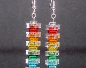 Transparent rainbow earrings with silver plated ear wires