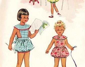 McCall's 8999 Photocopy of Vintage 50s Girl's Play Suit, Romper, Sun Suit with Bib Front & Bloomer Style Shorts Sewing Pattern Size 6