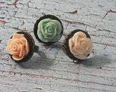 Basket of Flowers,  Rings..Roses in a Basket..Pink..Mint Green..Peach..Adjustable Band