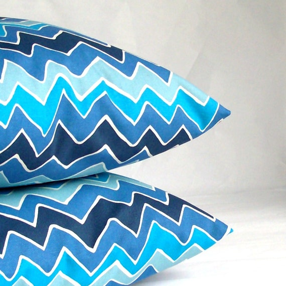 SALE Blue Pillow Covers - TWO 16x16 or 14x14 inch Abstract Zig Zag Decorative Cushion Covers - Blue Waves, More Sizes Available