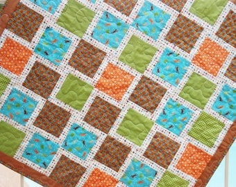 Frog Baby Boy Patchwork Quilt Pieced Blanket, Free Shipping Ready to Ship Homemade Crib Cot Bedding, Aqua Turquoise Orange Green Frogs