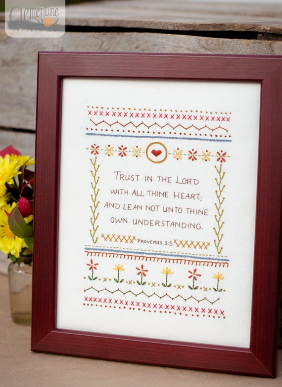 Trust in the Lord - Intermediate Sampler - 100% Cotton Embroidery Pattern