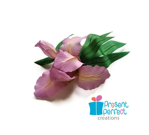 SALE iris corsage, pink iris brooch, pink millinery flower, silk iris