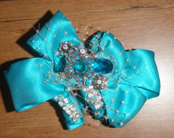Teal Brooch and Ribbon Corsage