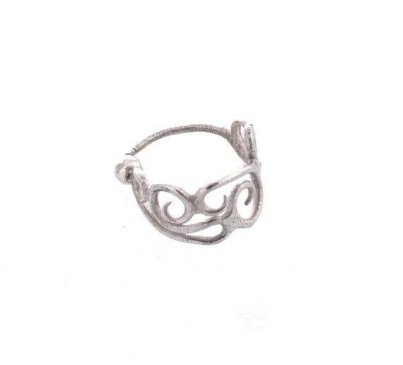 Art Nouveau  Silver nose ring 925 Sterling silver - A delicate Silver Nose jewelry - septum - love