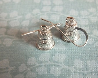 Sewing Earrings - Sterling Silver Earrings with a knitting, sewing, quilting theme - Thimble