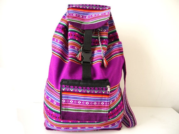 Tribal Fabric Backpack, Latin American, Peru, Bright Purple Stripes