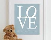 Baby Nursery Art Print LOVE - typography poster nursery prints kids room decor nursery wall art boy girl baby gift