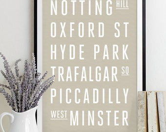 London Subway Sign Print Bus Roll City Poster