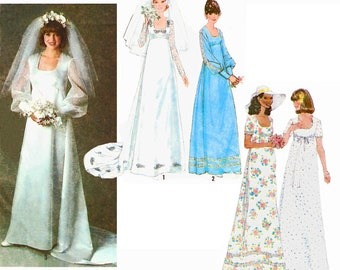 """1978 Vintage Empire Waist Bridal Gown or Bridesmaids Dresses with Sleeve Variations and Train Option, Simplicity 8392, Size 10, Bust 32 1/2"""""""