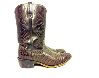 REDUCED~ Mens Brown Leather Cowboy Boots 8 - Acme Tall Cowboy Boots 8 - Western Riding Boots 8