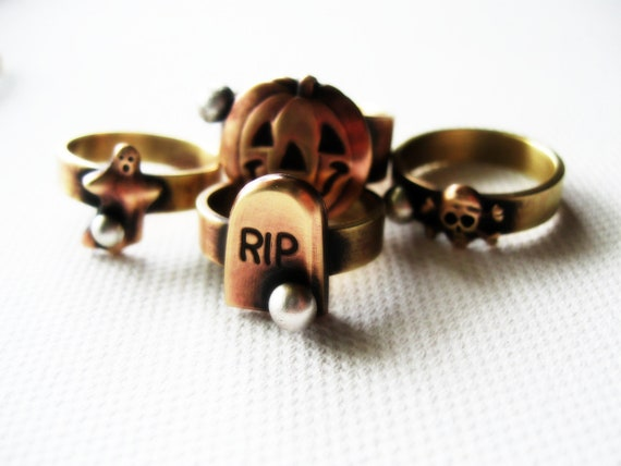 Crossbones Skull Ring Novelty Gold Brass Bones Halloween Rustic Day of the Dead Sterling Silver Eco Friendly Metasmith Mixed Metal Jewelry