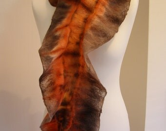 Cobweb Felted Ruffle Scarf 'Autumn Fire' Wrap Stole Soft Luxurious Cozy