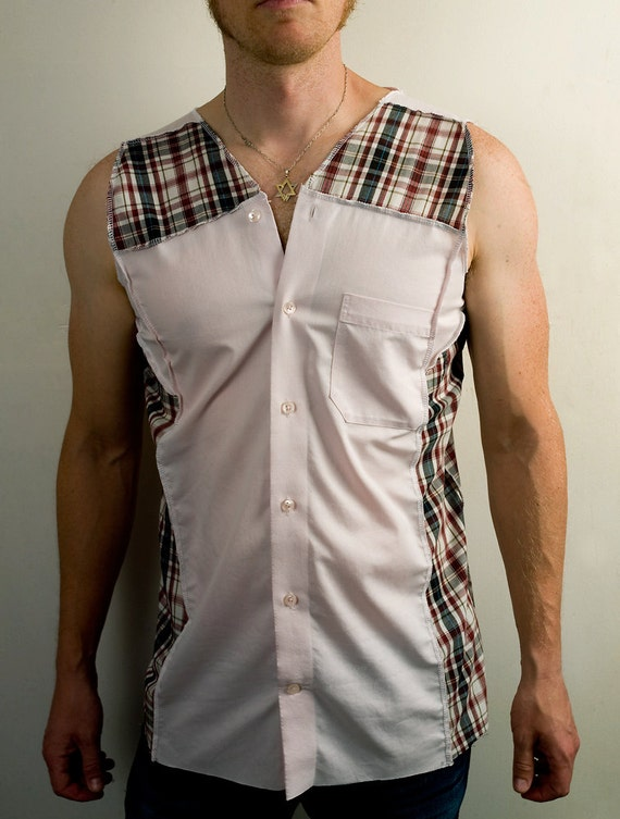 Post apocalyptic sleeveless dress shirt in pink and plaid