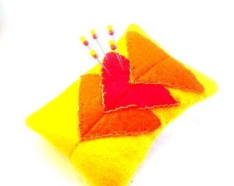 Pincushion, Needlecraft, fall, Autumn, geometric, triangles, pin cushion, yellow, orange