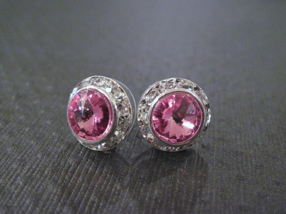 Pink Swarovski Earrings/ Rose Swarovski Studs/Halo Earrings/ Bridesmaid Earrings/Wedding Jewelry/Pink Crystal Stud Earrings/Swarovski Studs