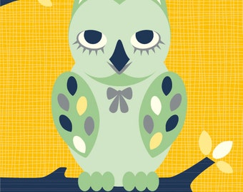Owl poster mint owl, yellow background, sitting on a branch for a nursery wall decor baby boy girl room decoration playroom artwork toddler