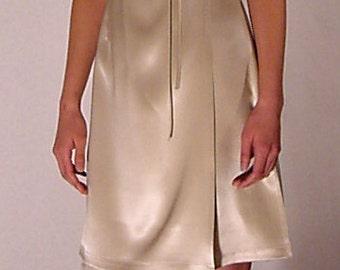 SALE. Silk Kimono Dress in Ivory Double-Face with Dark Green Neckline, Silk Wrap Dress, Silk Kimono.