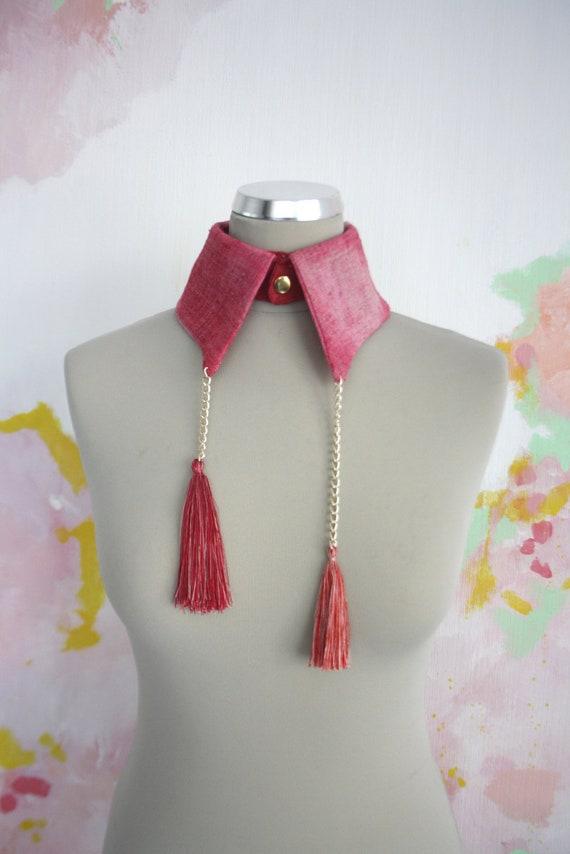 70% off P I N K  K / Pink & light pink linen collar - back to school sale