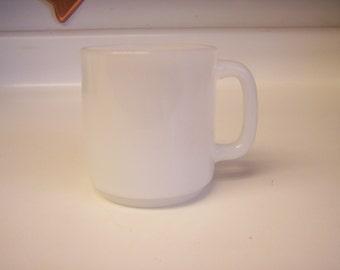 Vintage Glasbake white milk glass D handle coffee mug