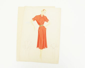 Italian fashion Illustration 1950's, Original, pencil and watercolor