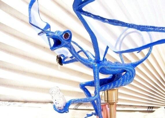 Blue Dragon on a Bar Stool: Lucky, the Sports Fanatic, Dragon Art Doll