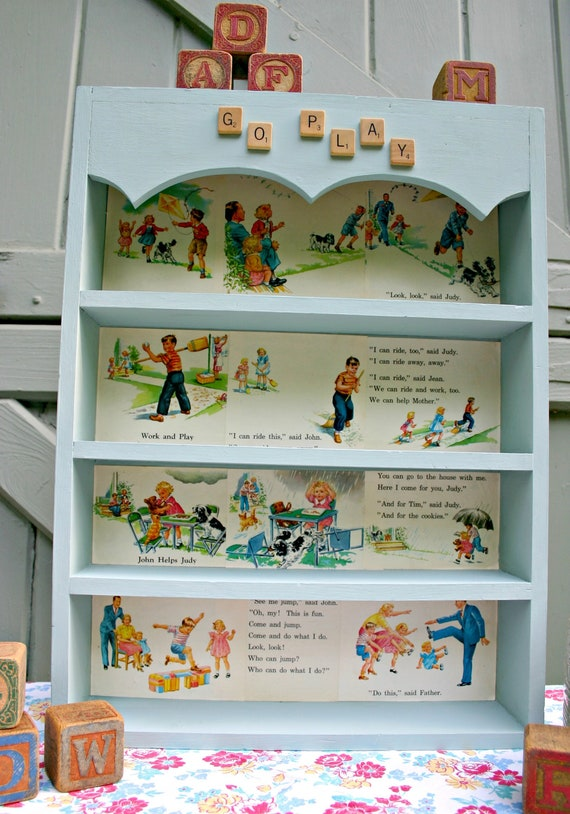 Upcycled Vintage Wood Shelf With 1952 Children's Reader Pages and Scrabble Tiles for Kid's Room