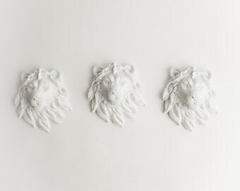 The Ramiros - Set of 3 White Mini Resin Lion Heads- Resin White Faux Taxidermy- Chic & Trendy