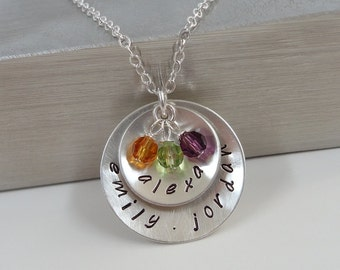 Hand Stamped Sterling Silver Layered Disc Necklace - Personalized Custom Jewelry - Mommy Necklace