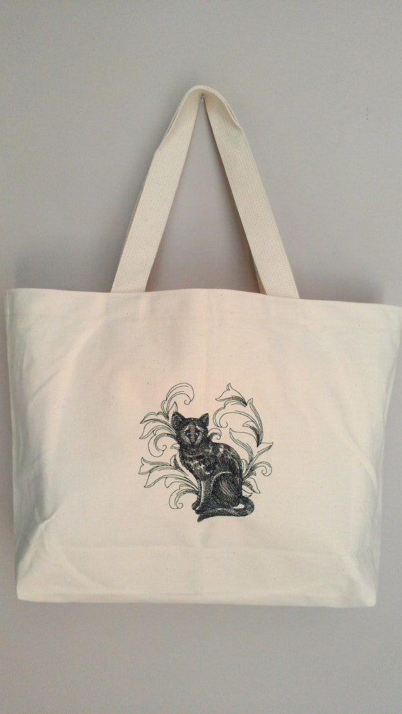 Cat Cotton Canvas Tote Bag Embroidery