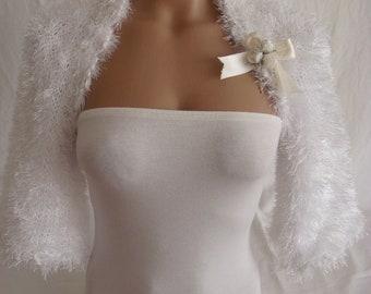 Wedding Bolero Shrug White Knit Bolero Half Sleeve Bolero Wedding Bolero Wedding Shrug Bridal Shrug Wedding Shrug Boleros Shrugs Bridesmaid