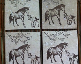 Mare & Foal Coaster Set/Hand-stamped travertine tile/4 Piece Set