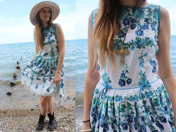Blue Forget-Me-Nots ladies floral DRESS Tea Garden Wedding Sundress Midi length Box pleat skirt 50s Retro Rocker Woman's Medium Flirty Frock