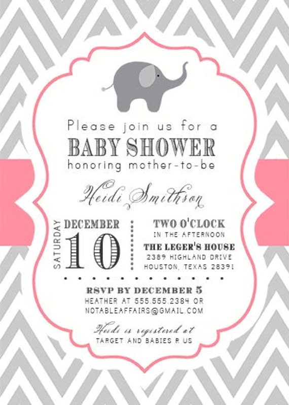 gray and pink chevron with elephant baby shower invitation colors and