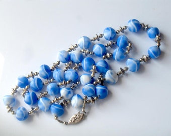 Mid Century Mod Blue Swirl Necklace Beaded Vintage Glass Jewelry Collectible  Blue and White Glass Bead Necklace For Women