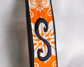 Orange and Navy Initial Monogrammed Keychain