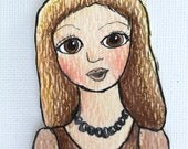 Paper Doll Handmade Childrens Vintage Style Bookmark Hand Painted Original Art Girl Lace