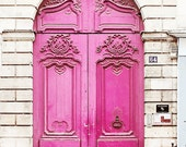 Neon Pink Door, Paris France - Home Decor Art Photography Print, Magenta, Brick, White, French, Travel, Girls Room, Feminine, Love,