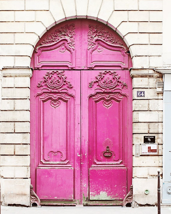 Neon Pink Door Paris France Home Decor Art Photography