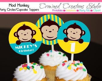Mod Monkey Cupcake Toppers or Stickers - Boy's Birthday or Baby Shower Printables -  Turquoise Blue and Yellow
