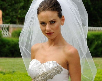 3T Bubble Elbow Bridal Wedding Veil Cut Edge VE308 white ivory