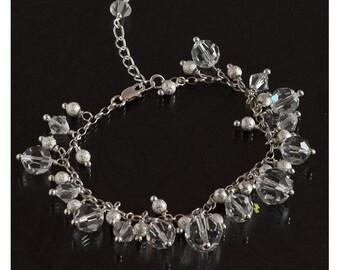 BRIDAL SwarovskiI CRISTAL BRACELET with Silver beads.Wedding Bracelet .