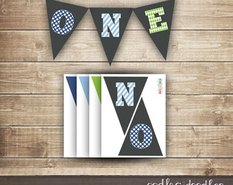 1st Birthday Pennant Banner / Printable Pennant Banner / Boy's First Birthday / Blue & Green / ONE banner - INSTANT DOWNLOAD - Printable