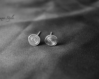 Silver Stud Earrings, Spiral Earrings, sterling silver Post Earrings, Unique trendy Handmade Luxe Style