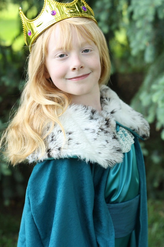 Queen for a Day Costume Girls Tween Preteen Dress Up Set Clothes: Princess Dress and Cape with Faux Fur Collar OOAK
