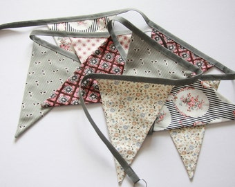SALE Shabby Chic Pink and Grey fabric Bunting/Banner - 9 feet 9 flags