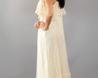 Vintage Lace Boho Ruffle and Ribbon Wedding Maxi Dress