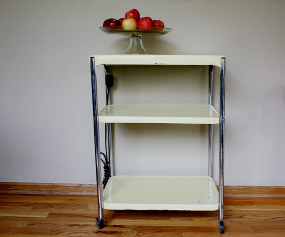 cart on wheels with electric yellow and chrome kitchen cart on etsy